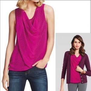 CAbi Brilliant Drape Fuchsia Floral Cowl Neck Top